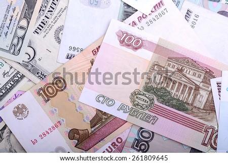 european and american money - stock photo