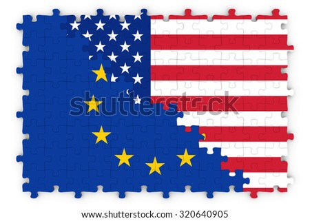 European and American Relations Concept Image - Flags of the European Union and United States of America Jigsaw Puzzle - stock photo