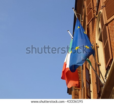 European and Italian flags of Europe and Italy
