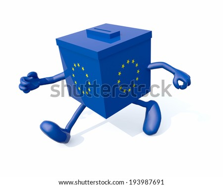 european ballot box with arms and legs that run, 3d illustration - stock photo