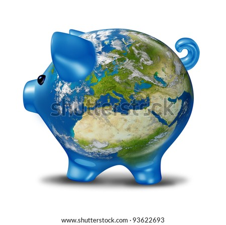 European banking and bad economy crisis with a piggy bank and world globe map of Europe as financial economic problems and business challenges of Greece Italy Spain Portugal in possible default. - stock photo