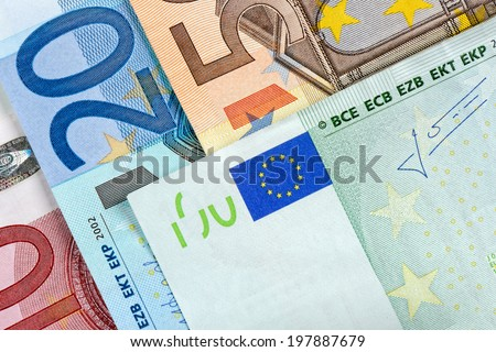European banknotes close-up detail, Euro currency from Europe, Euros. - stock photo