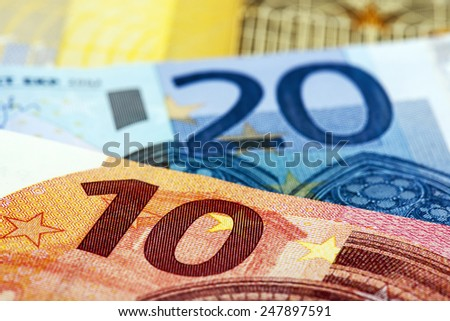 European Banknotes on white background. Focus on front. - stock photo