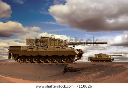 European-built main battle tanks preparing to engage the enemy.
