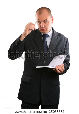 European businessman on white background.