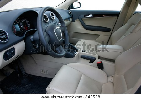 european car interior - stock photo