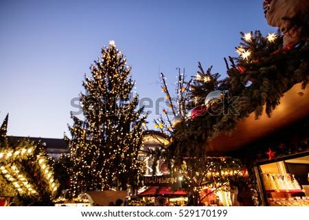 european christmas market scene dresden germany beautiful sparkling and twinkling christmas city lights - European Christmas Tree