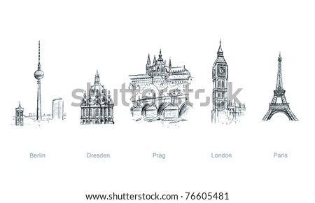 european cities, illustration - stock photo
