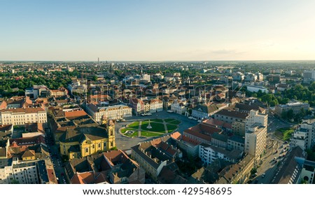 European city skyline seen by a professional drone - stock photo