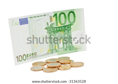 European coins and euro banknote