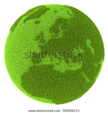 European continent on green planet covered with grass isolated on white background. Concept of ecology and clean environment. Elements of this image furnished by NASA