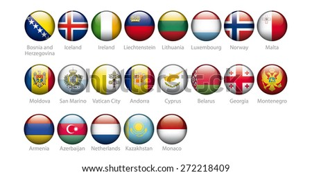 european countries flags in glossy buttons - stock photo