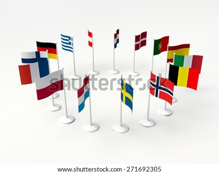 European countries. small Flags countries in a circle. 3d illustration on a white background. - stock photo