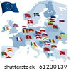 European country flags and map. Raster version of vector illustration. - stock vector
