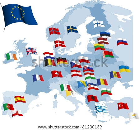 European country flags and map. Raster version of vector illustration. - stock photo