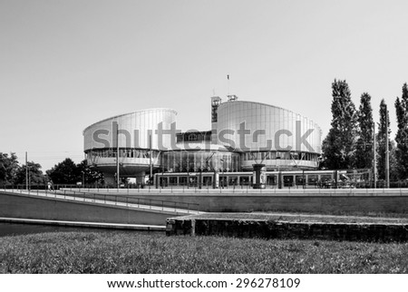 European Court of Human Rights building in Strasbourg, France. ECHR is a international court established by the European Convention on Human Rights. - stock photo