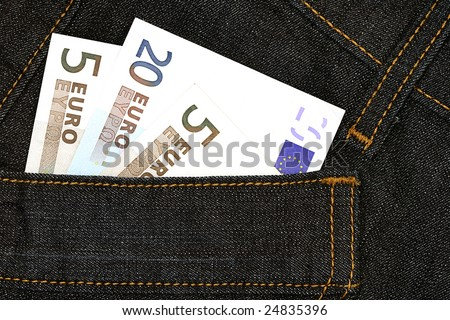 European currency banknotes in the jeans pocket