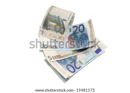 European currency banknotes isolated on white background - stock photo
