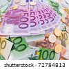 european currency collage - multicolored euro banknotes background - stock photo