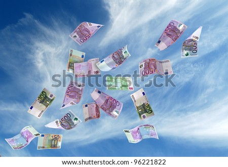 european currency shot as if flying away - stock photo