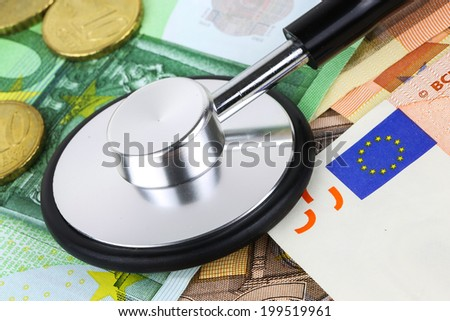 European currency sick concept. stethoscope on euro banknotes - stock photo