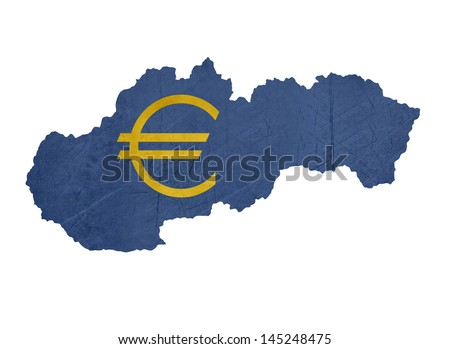 European currency symbol on map of Slovakia isolated on white background.