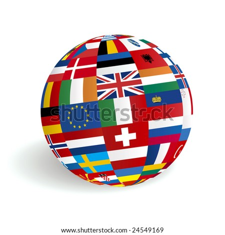 European 3D render globe flags