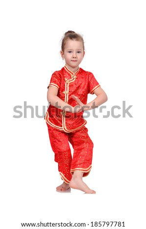 European  dancing girl in traditional Chinese dress