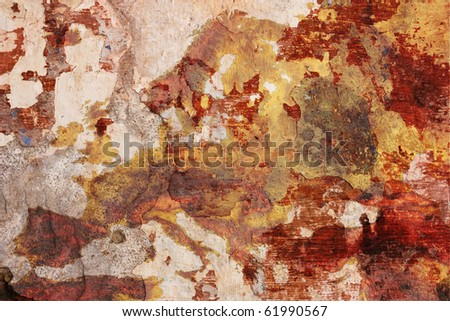 european decay - grunge plaster with drawn map of europe - decadent  dirty painted wall - old continent in decline - stock photo