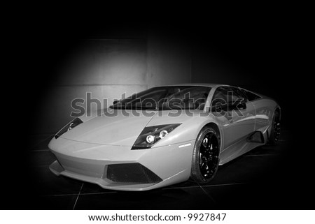 European-designed supercar.  45 degree angle facing the driver's side door. - stock photo