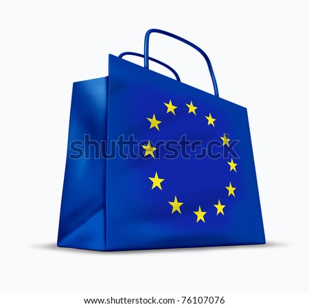 European economy symbol represented by a blue bag with the flag of Europe showing the concept of consumer confidence and tourist shopping industry. - stock photo