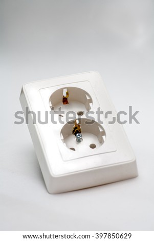 European electrical outlet on a white background - stock photo