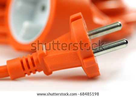 European electrical power cord on a white background - stock photo
