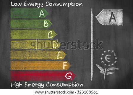European energy consumption efficieny classes from A to G drawed and handwritten on a blackboard - stock photo