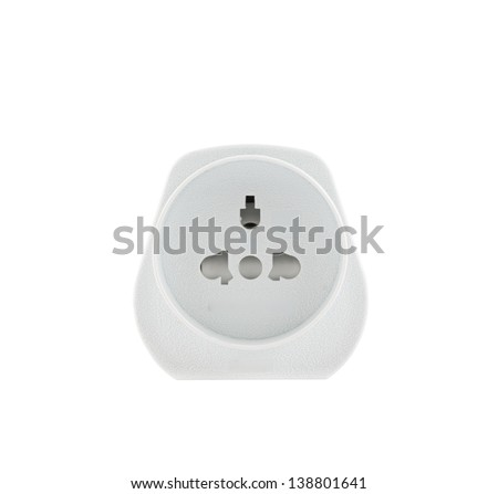 European EU to UK converter plug travel adapter isolated over white background, front view - stock photo