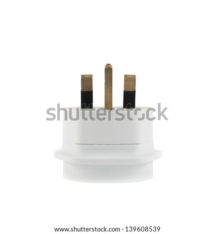 European EU to UK converter plug travel adapter isolated over white background, side view