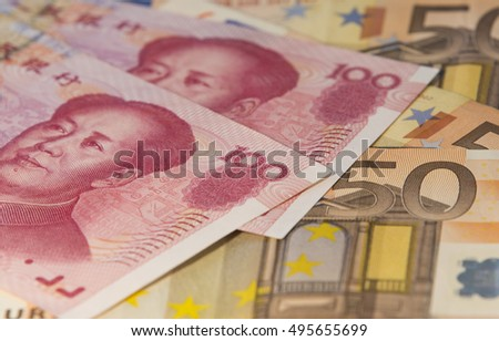 European euro and Chinese yuan