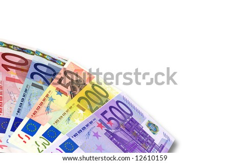 european euro currency banknotes over white background