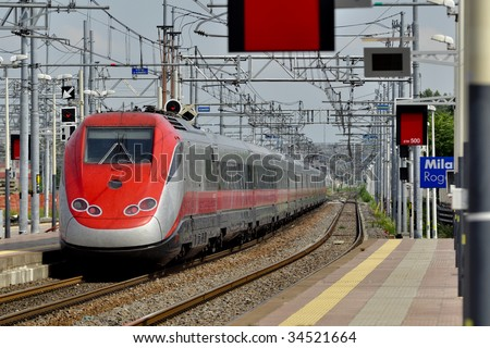 European fast train in Italy - stock photo