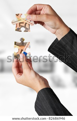 European financial crisis concept with puzzle - stock photo