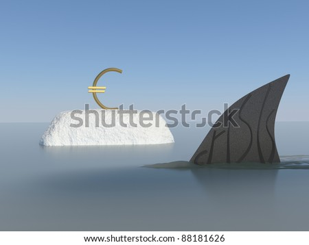 European financial crisis Conceptual Design.Thinking out side the box. - stock photo