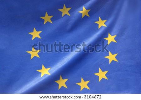 European flag in closeup - stock photo