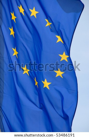 european flag in the wind - stock photo