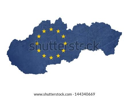 European flag map of Slovakia isolated on white background. - stock photo