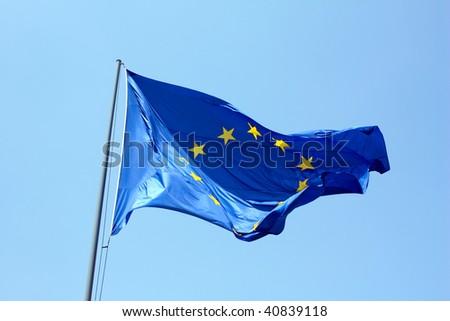 European flag on blue sky - stock photo