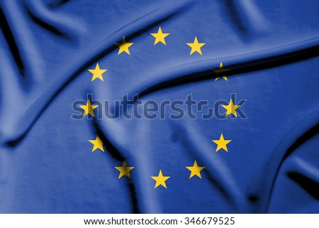 European flag on soft and smooth silk texture