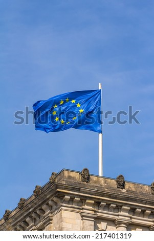 European flag on the Reichstag building Berlin  - stock photo