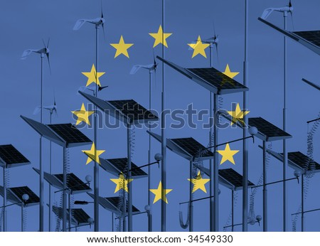 European flag overlaid over wind generators and solar panels - stock photo