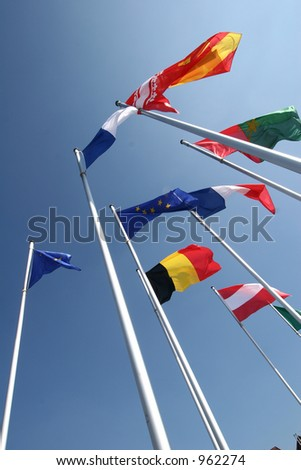 european flags - stock photo