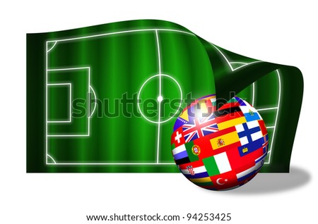 european flags ball on soccer field over white background - stock photo